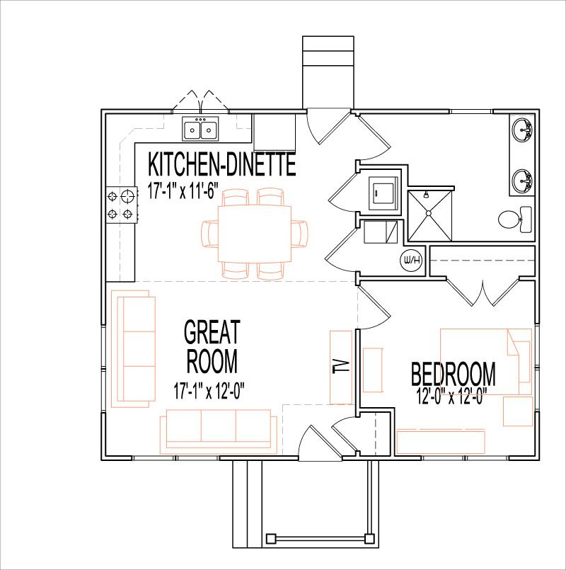 Rustic craftsman open house floor plans 1 story 1 bedroom for One bedroom house design