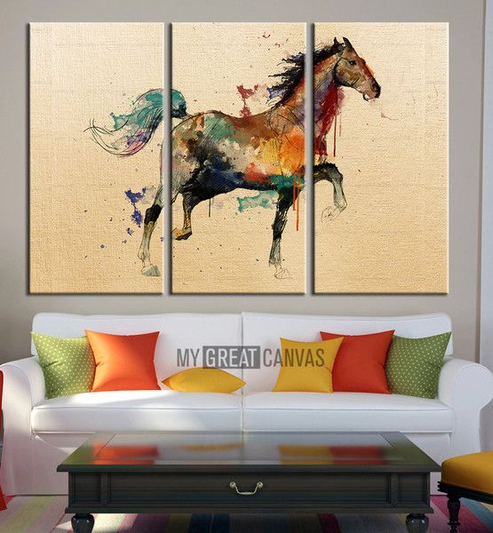 Large Wall Art Canvas Print Arabic Horse Drawing - Watercolor Horse ...