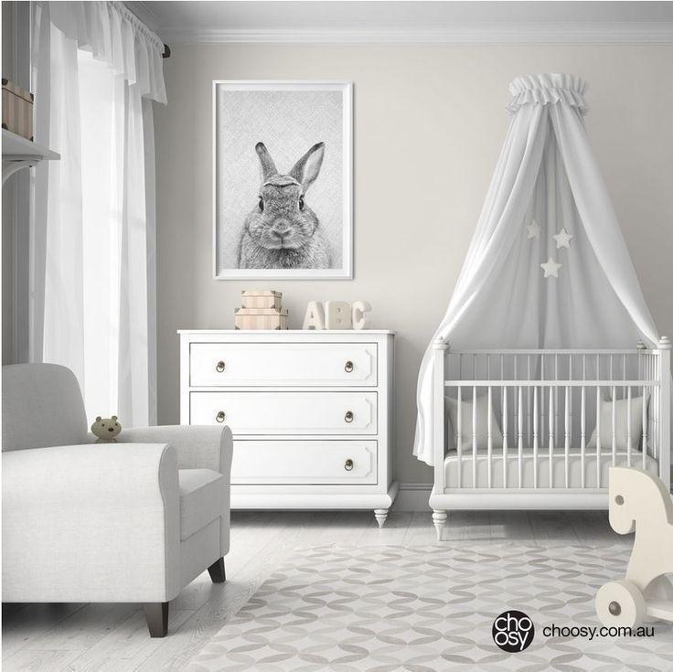 Kaninchen-Print, Waldhase, Kinderzimmer Kunst, monochrome Wandgestaltung, Tierbabys #kinderzimmerkunst