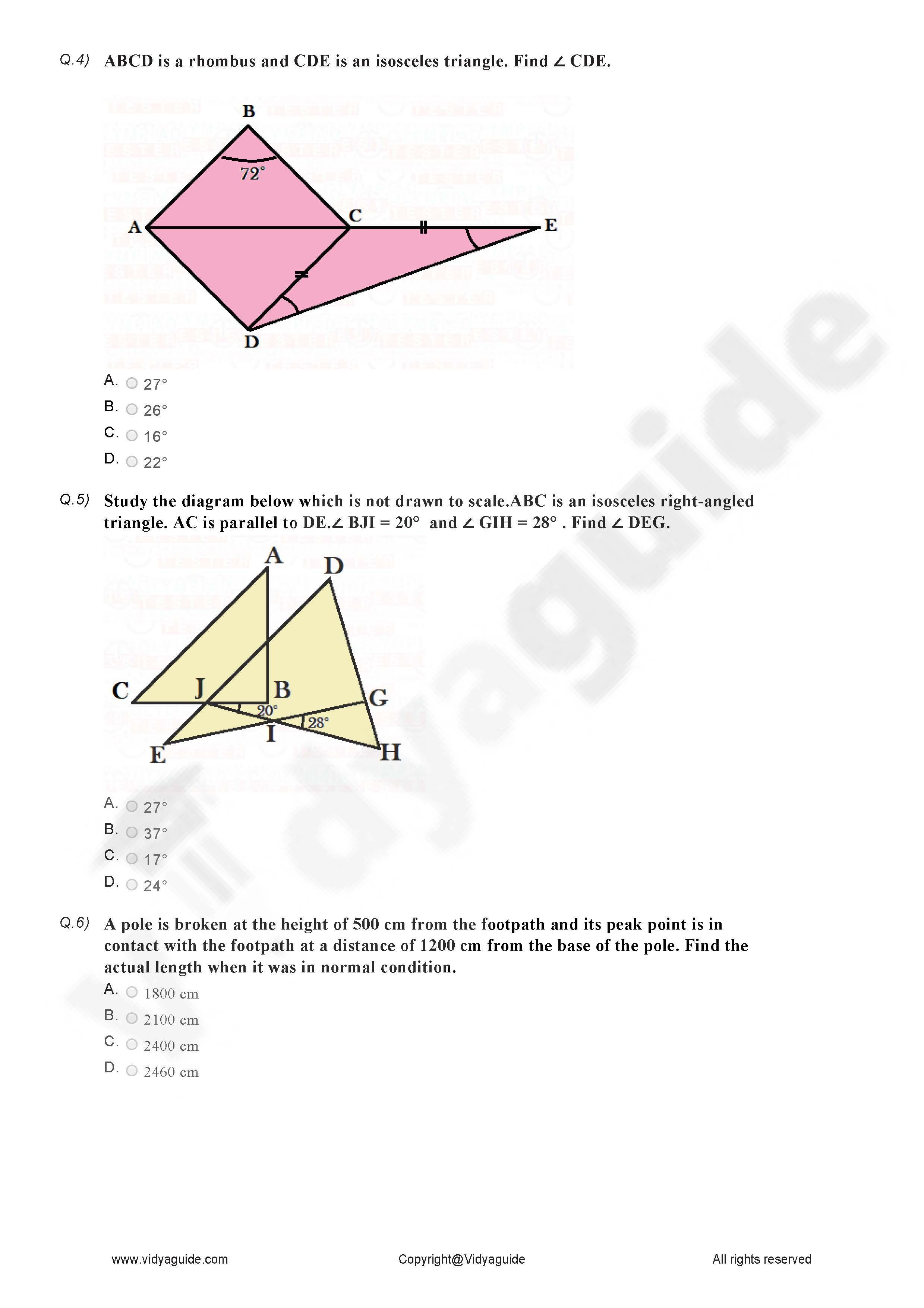 Download Class 7 Maths Pdf Worksheets On Triangles And Their Properties