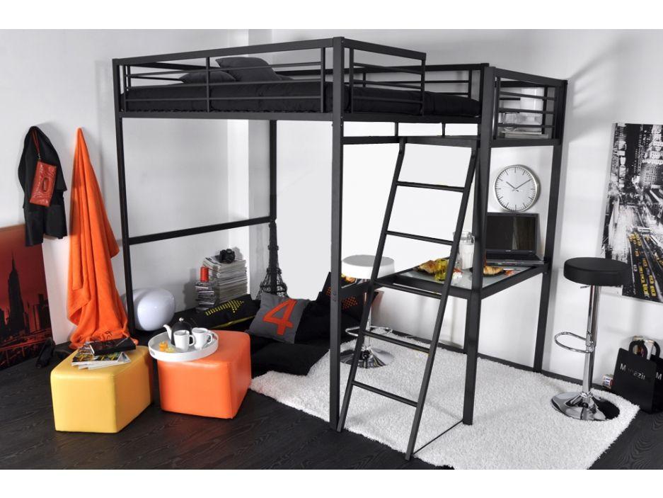 lit mezzanine casual couchage 140x190cm plateforme bureau coloris anthracite deco. Black Bedroom Furniture Sets. Home Design Ideas
