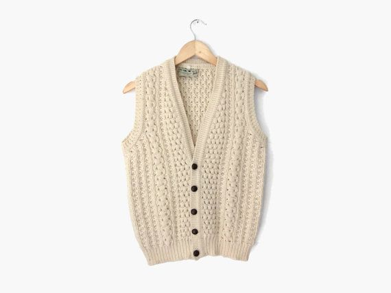 Irish Fisherman Sweater Vest Vintage C 1960s Sixties Off White Ivory Cream Cable Knit Aran Jumper Fisherman Sweater Fashion Irish Wool Sweaters