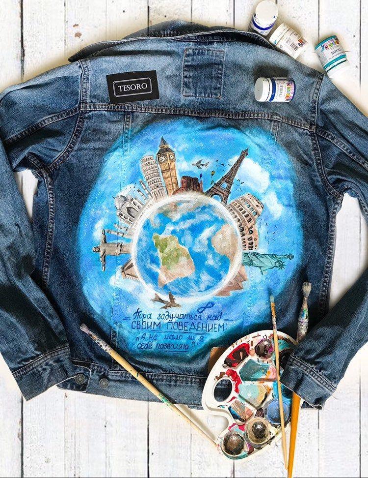 Paint denim jacket with artwork Jean jacket with acrylic painting Custom Denim Jacket Stylish clothing Hand painted Denim Jacket