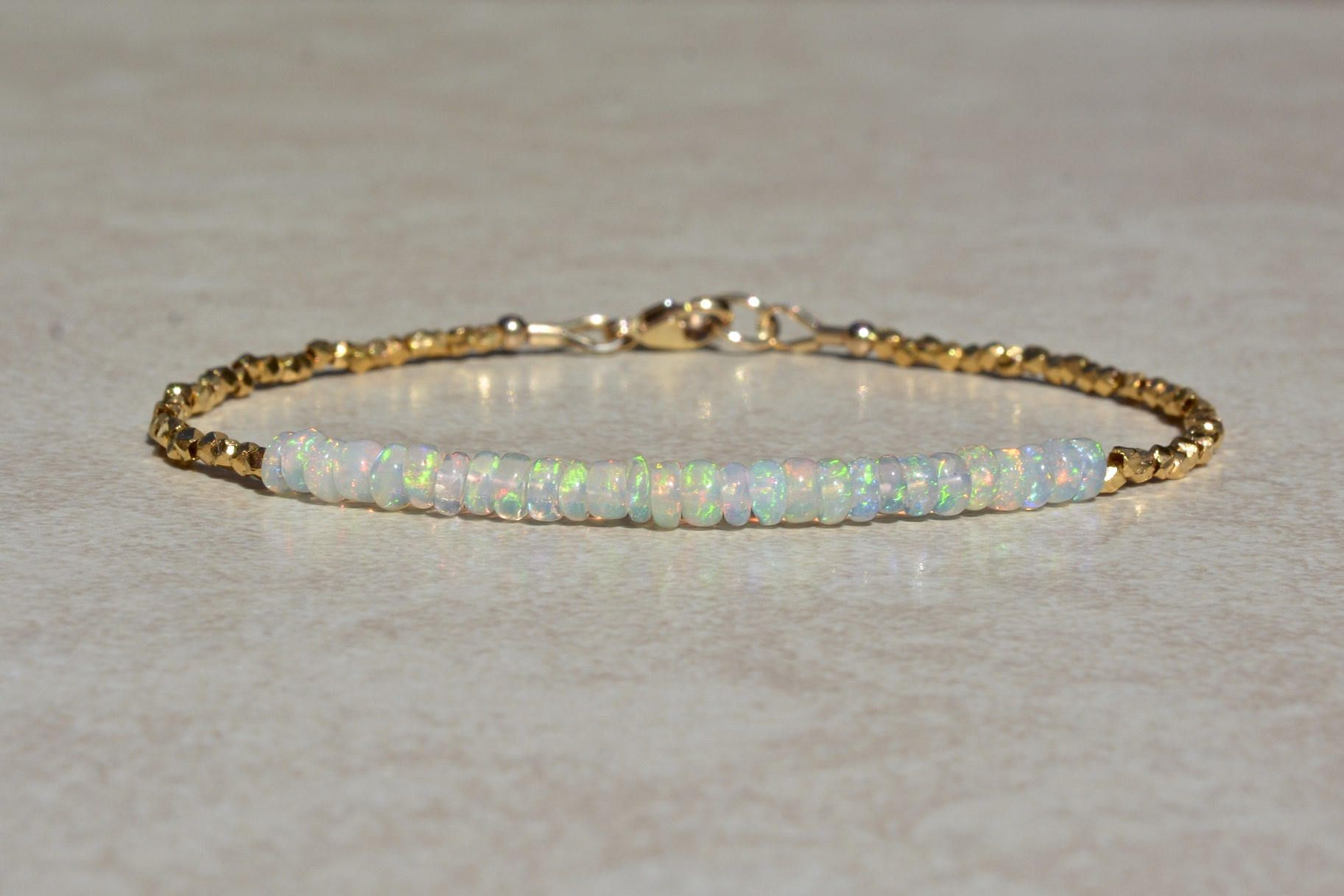 opal gold bracelet tiny opal bracelet opal jewelry minimal bracelet beaded bracelet opal bead bracelet Opal bracelet