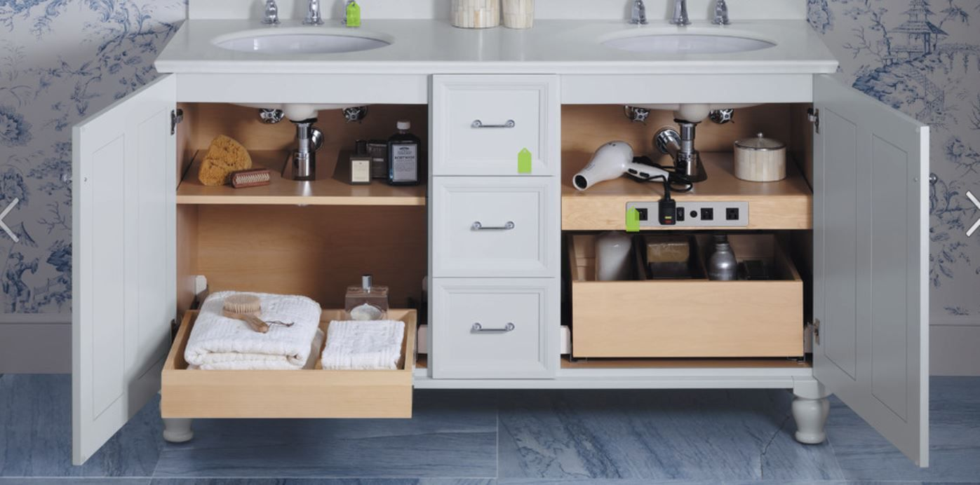 Drawers Under The Bathroom Sinks With Power Supply For Hair
