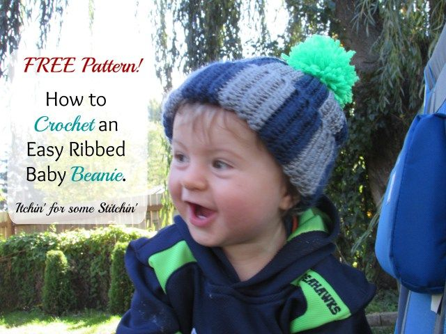 Free Easy Crochet Ribbed Baby Beanie Pattern for Beginners | Beanie ...