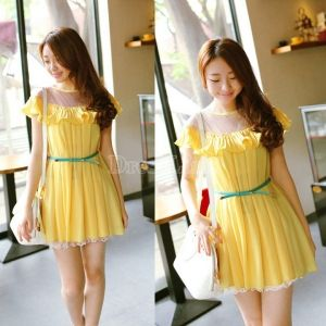 $ 9.24 Short Sleeve Ruffles Loose Chiffon Dress