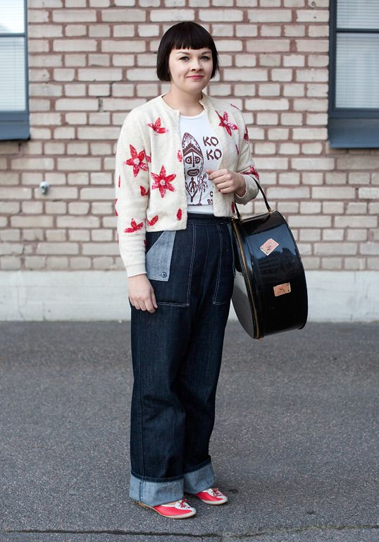 """""""I like to mix old with new. The 40s and the 50s inspire my style, especially what comes to accessories.My friend brought the cardigan from England, the t-shirt is from Stockholm, the jeans are second hand and the shoes from VintagEija's. I just bought the bag from the Helsinki Vintage fair."""""""