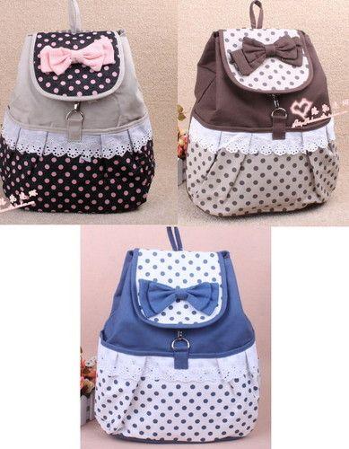 Sweet Cute Trend Kawaii BOW Shoulders School Bag Backpacks ...