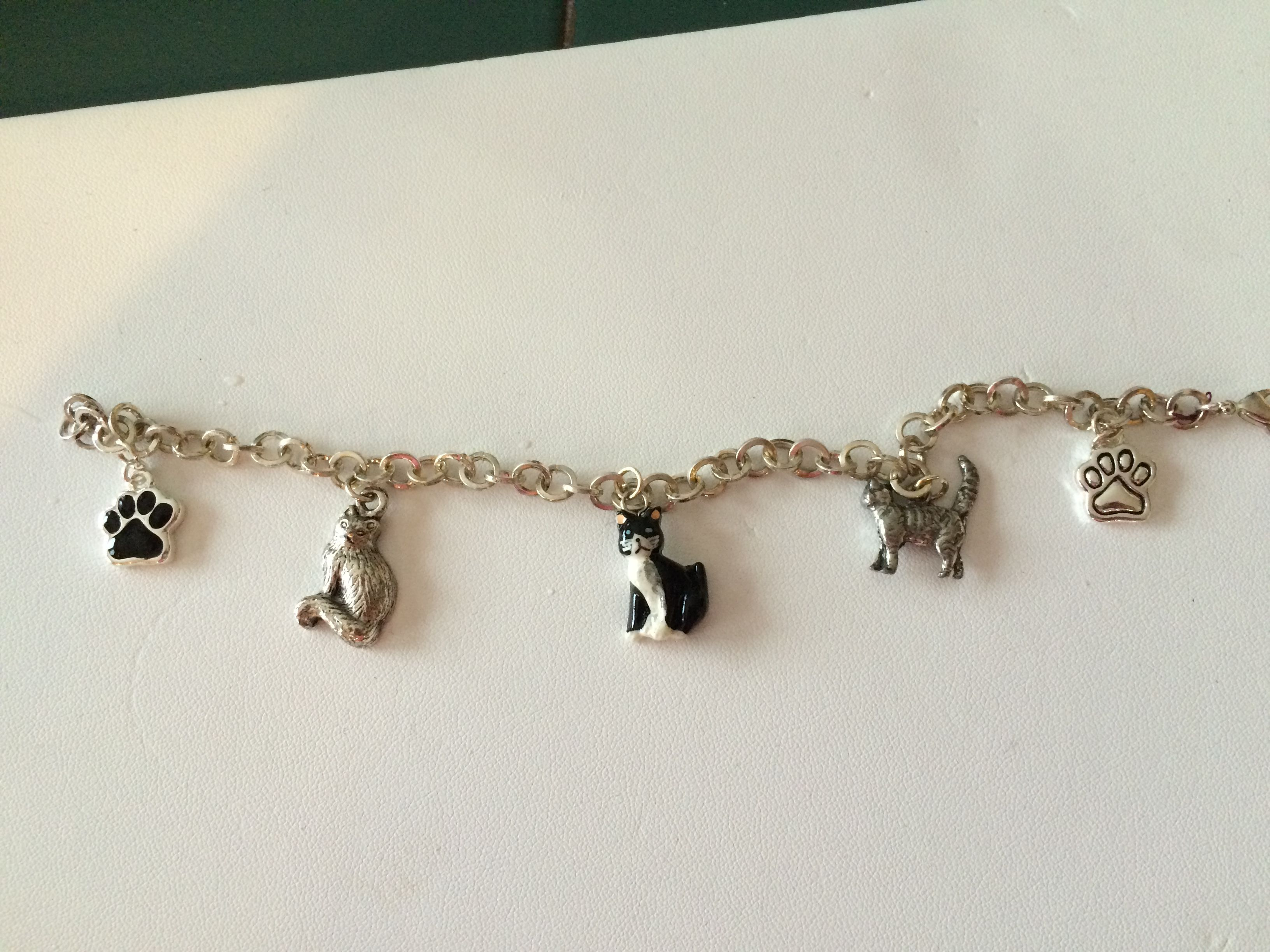 Sterling Silver Cat Charm Bracelet
