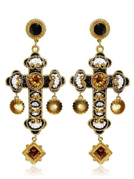 9a138b32b dolce & gabana cross earrings | Dolce & Gabbana Medium Cross Drop Earrings  in Gold - Lyst