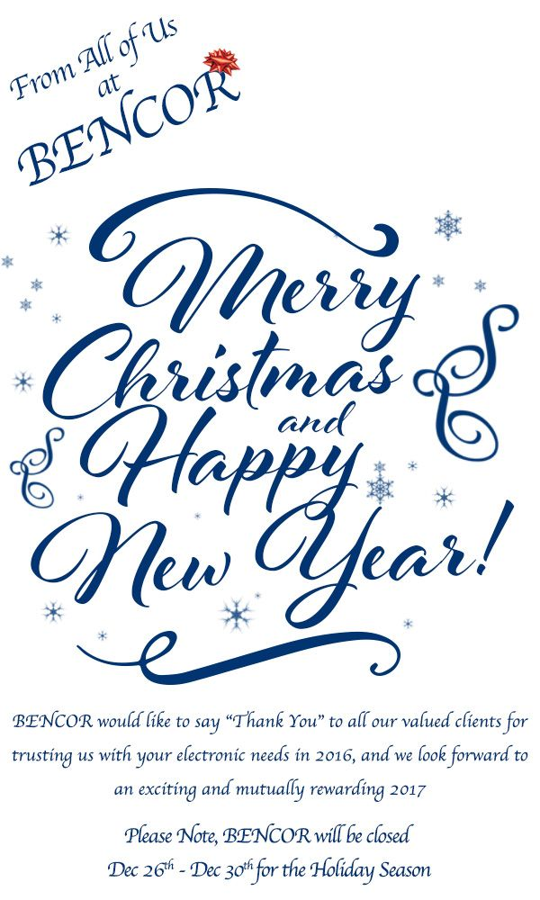BENCOR, LLC wishes everyone a Merry Christmas and Happy New Year.