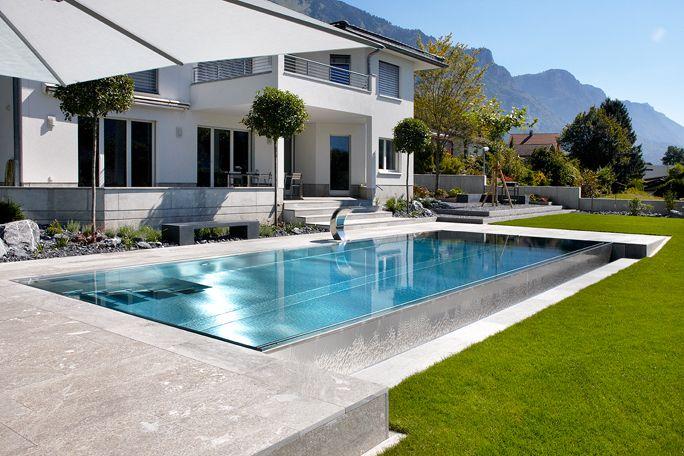 wasser im garten moderner edelstahl pool outdoor