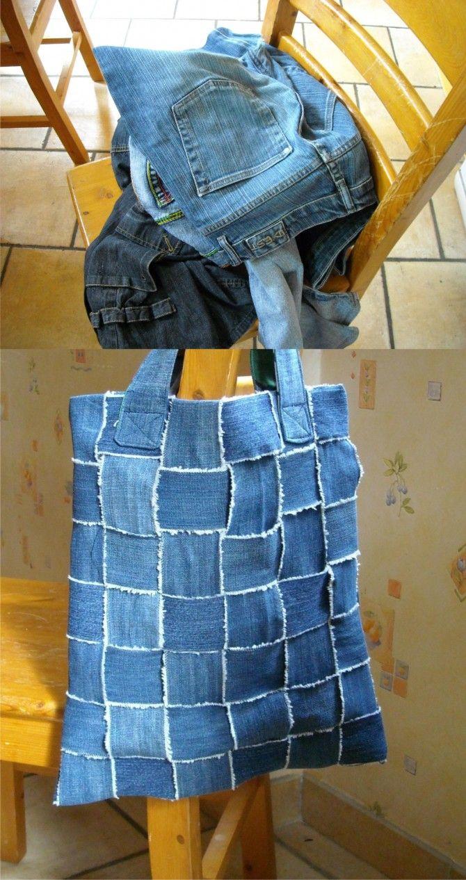 Bolso reciclando antiguos pantalones vaqueros | alte Jeans, Jeans ...