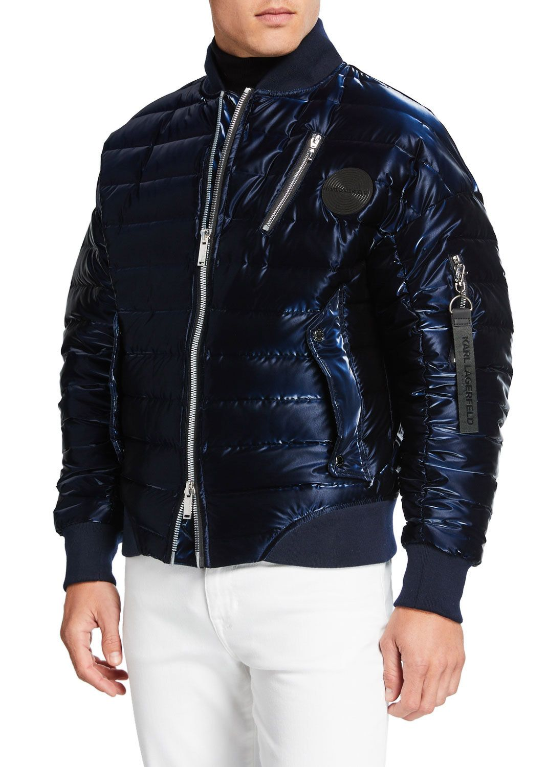 Karl Lagerfeld Men's Oversized Liquid Puffer Bomber Jacket