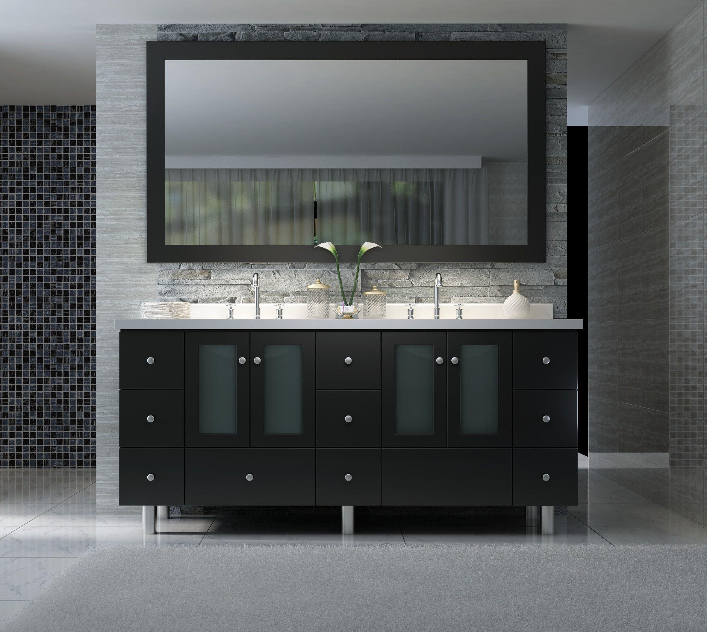 73 Inch Double Sink Bathroom Vanity Set In Black Finish Luxury Bathroom Vanities Bathroom Vanity Store Discount Bathroom Vanities Black Vanity Bathroom