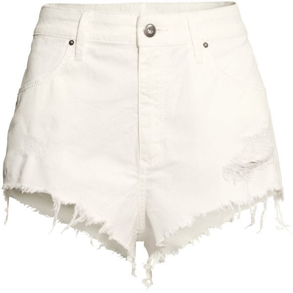 H&M Short shorts ($9.02) ❤ liked on Polyvore featuring shorts, bottoms, short, pants, white, white high waisted shorts, high rise shorts, short hot pants, white shorts and hot shorts