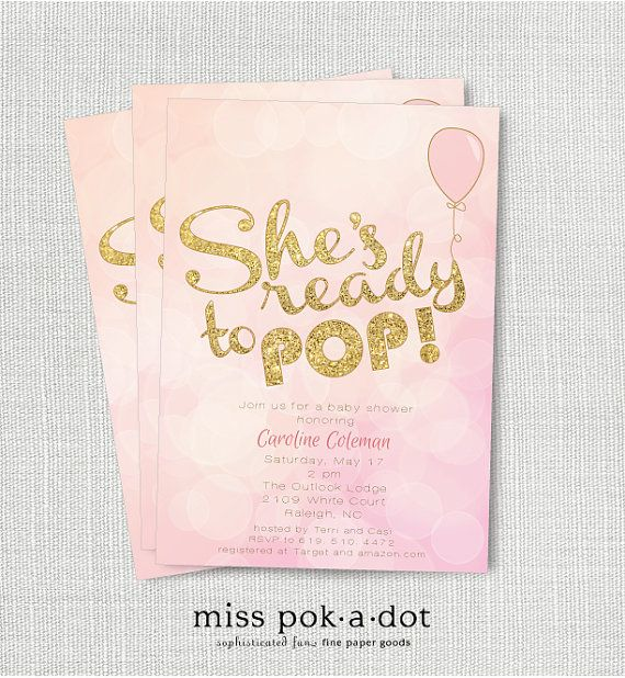 Shes Ready To Pop Girl Baby Shower Invitation Printable Pink And