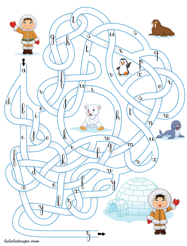 Jeu de labyrinthe imprimer pour apprendre l 39 alphabet cp plan de travail - Jeu labyrinthe a imprimer ...