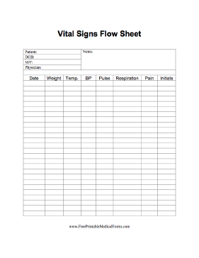 A Flow Sheet On Which To Track Vital Signs In A Medical Home