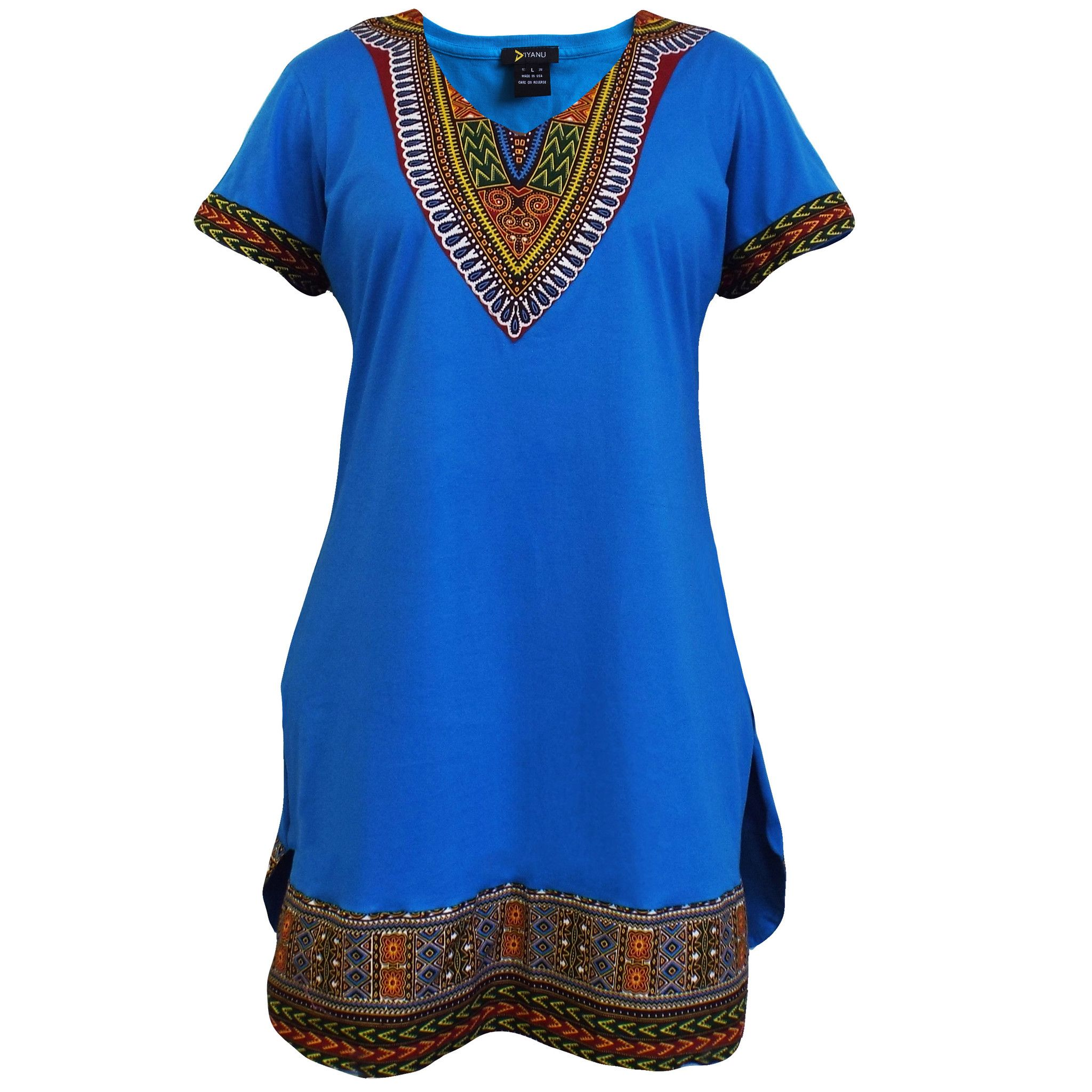3a8d6f05dcb Women s Dashiki African Print T-Shirt Dress (Aqua Blue)