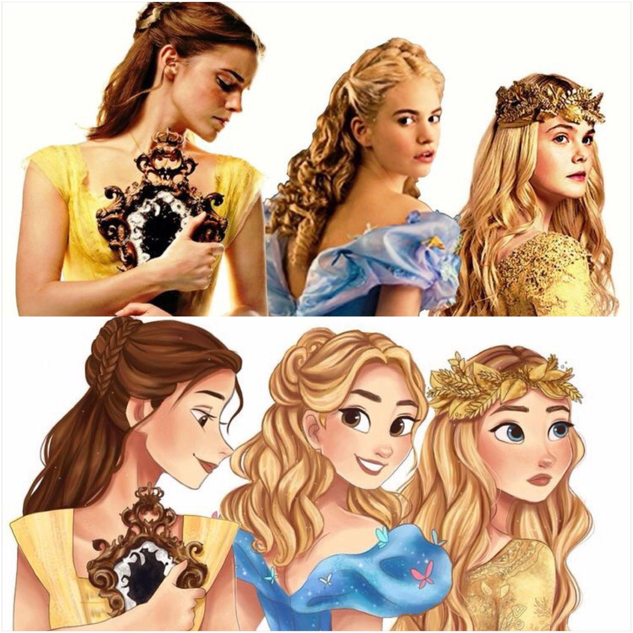 """Disney Live Action Princesses (Real to Cartoon ..."