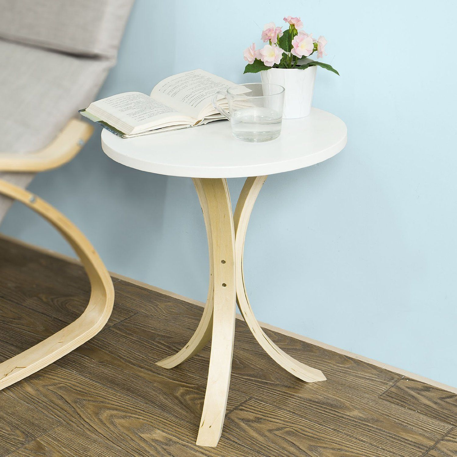 SoBuy® Round Wooden Side Table, Tea Coffee