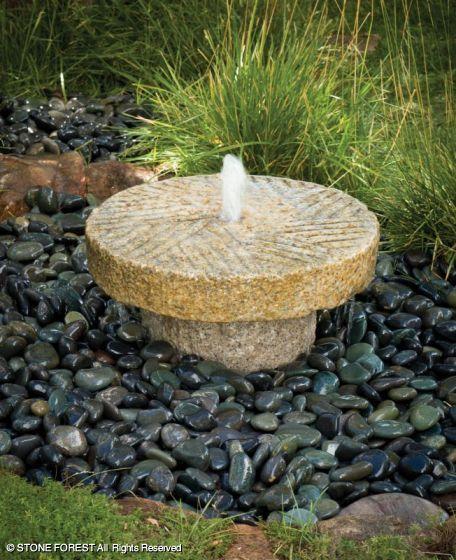 Antique Millstone FountainGranite with carved beige granite