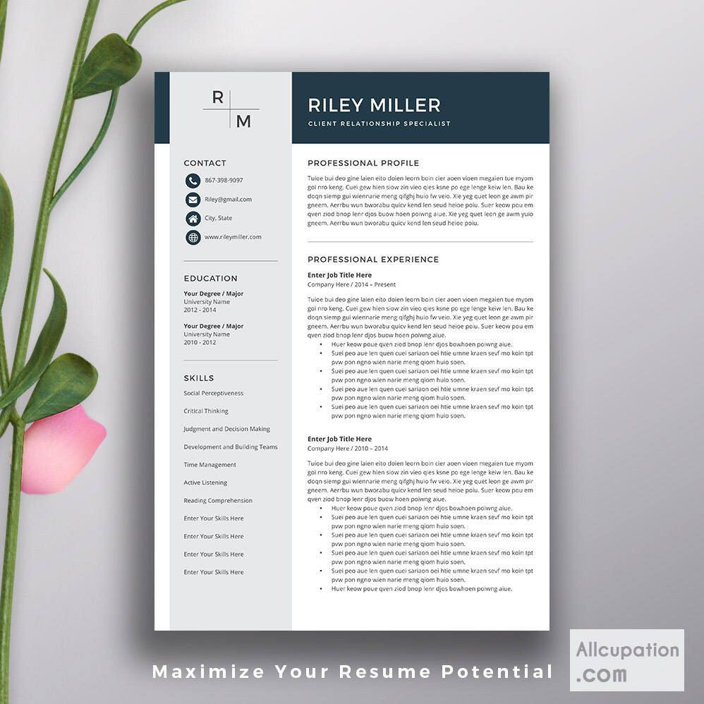 Professional Resume Template Cv Template Cover Letter Word