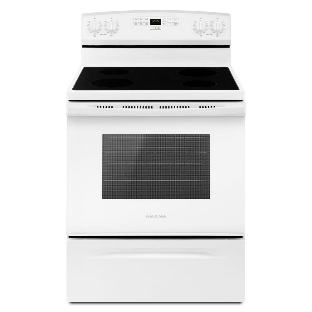 Amana 4 8 Cu Ft Electric Range In Black Aer6303mfb The Home Depot In 2020 Electric Range Freestanding Electric Ranges Amana