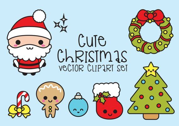 premium vector clipart kawaii christmas cute chrismas clipart