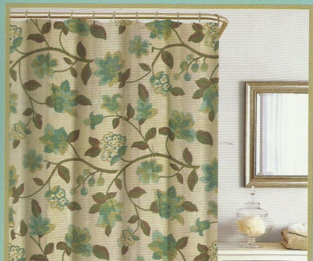 Floral Green Brown Turquoise Beige Silk Look Texture Fabric Shower Curtain New Green Shower Curtains Fabric Shower Curtains Beach Bathroom Decor