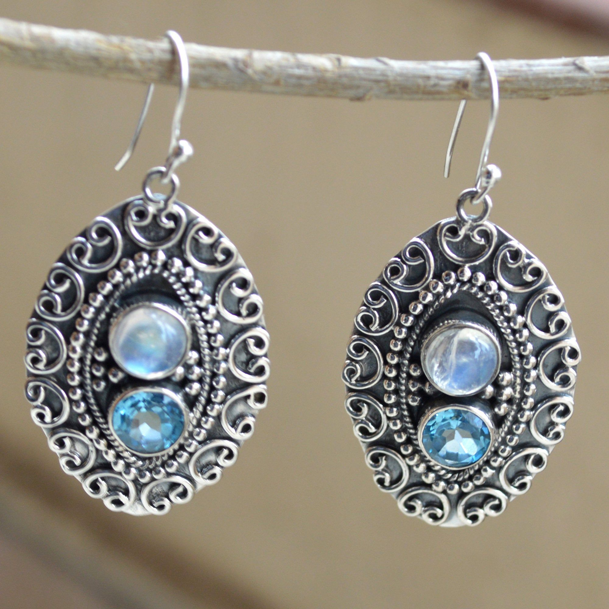 Faceted Blue Topaz and Rainbow Moonstone Earrings 925 Sterling Silver Dangle