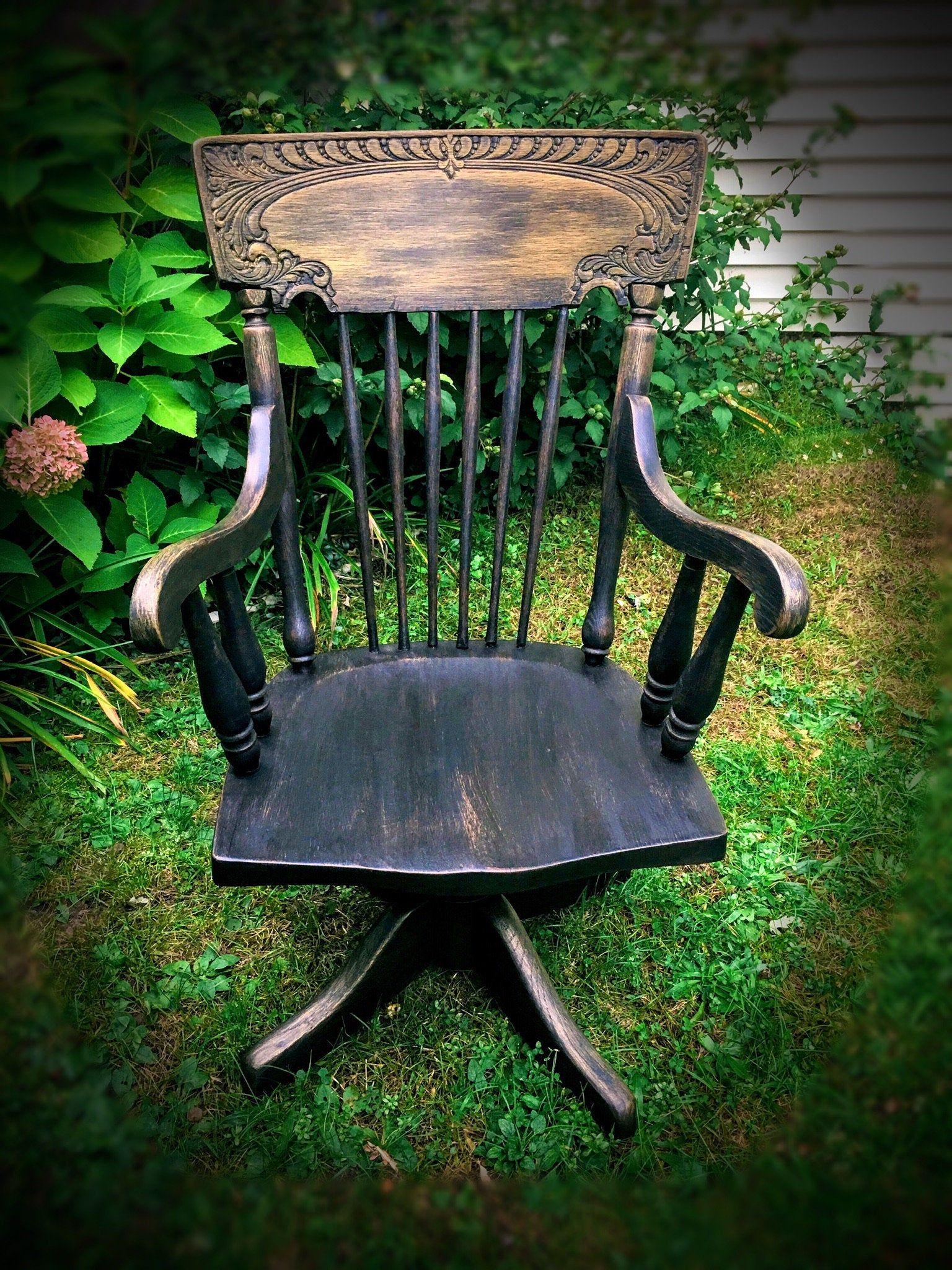 Black gold fabulous farmhouse chair vintage oak desk