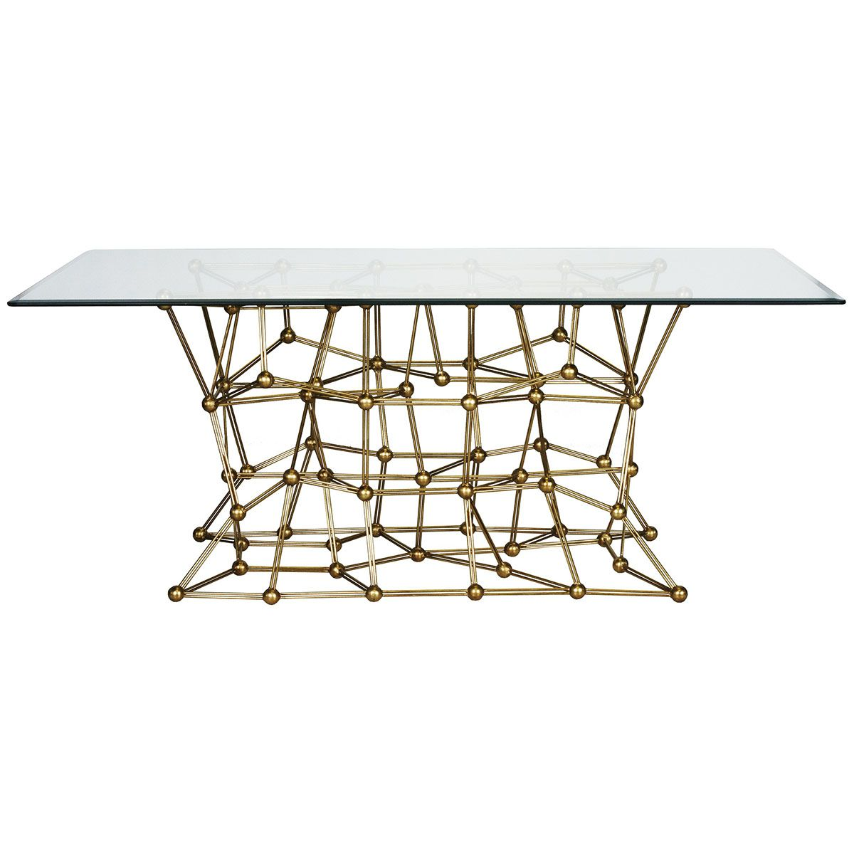 Worlds Away Gold Leaf Iron Dining Table With 42 X 72 Glass Top MOLECULE