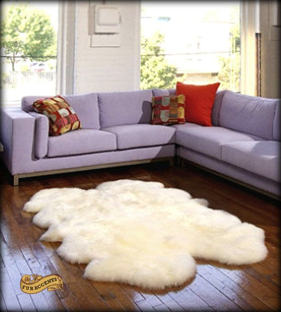 FUR ACCENTS Sheepskin Area Rug Quatro Design Shaggy Faux Fur White Or Off