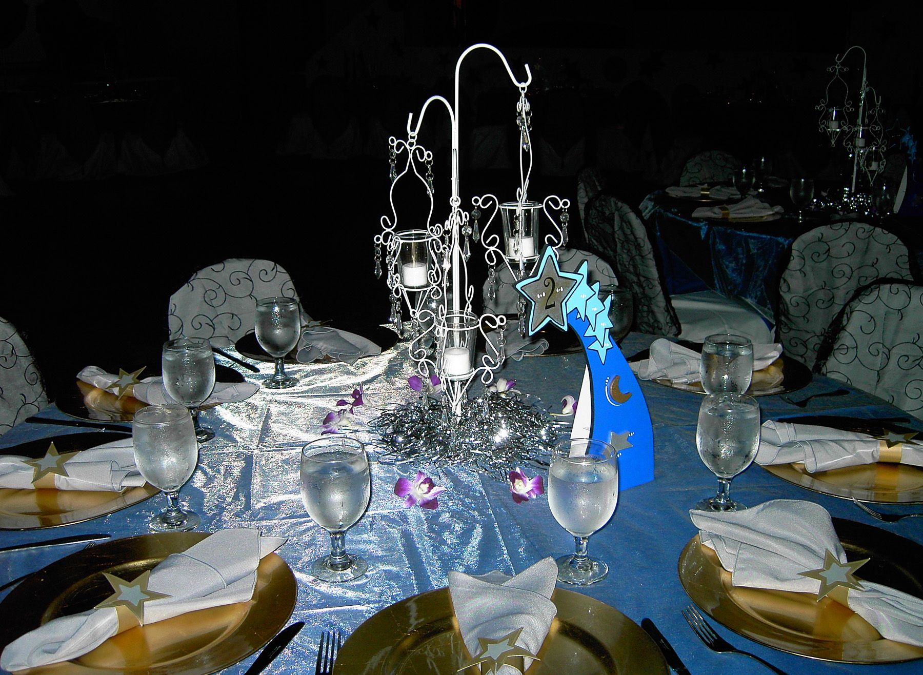 Blue And Gold Table Setting Table Setting For A Van Goghs Starry Night Themed Event Gold