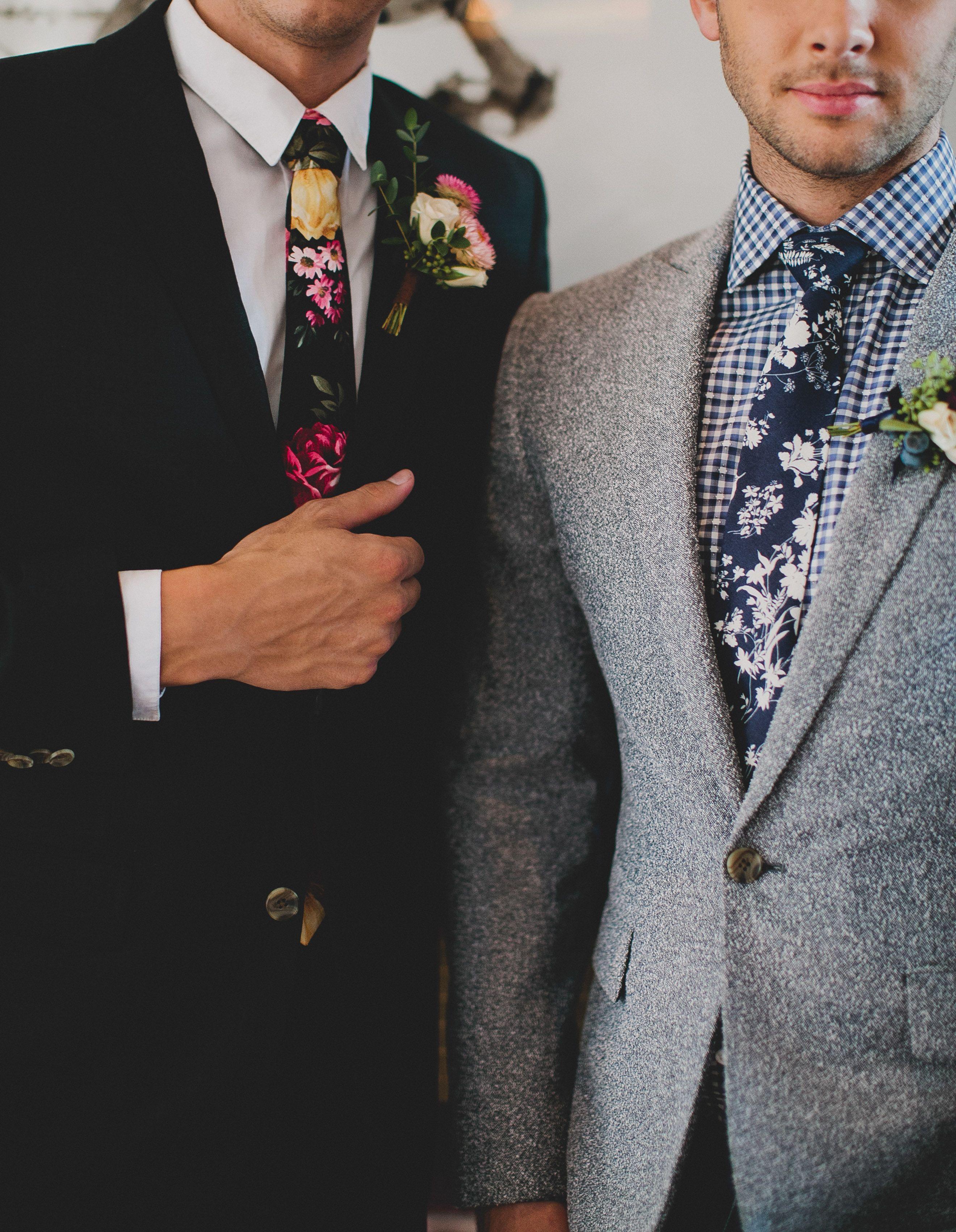 Groom in floral tie // sharp dapper hipster groom guy's