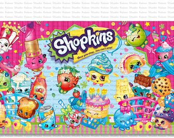 Backdrop shopkins birthday party you print por kaboostudio - Shopkins wallpaper ...
