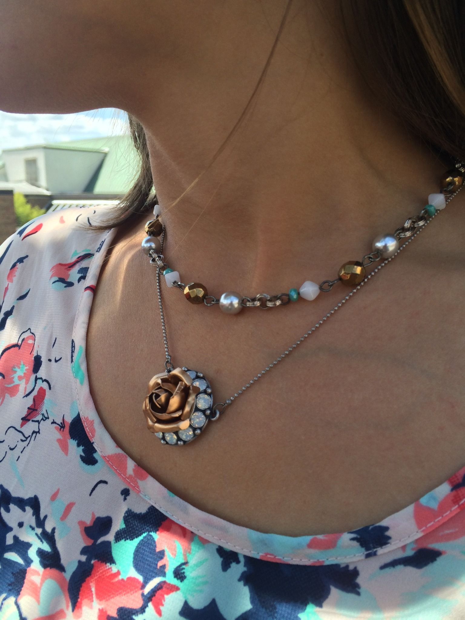 Sabika look necklace - Sabika Devoted Rose Necklace And Beaded Necklace