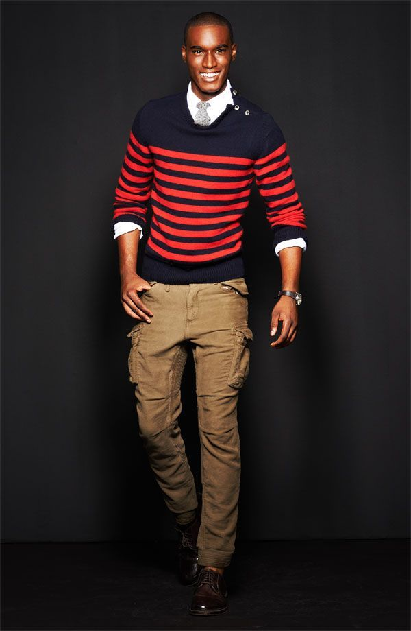 Men's Red and Navy Horizontal Striped Crew-neck Sweater, White ...