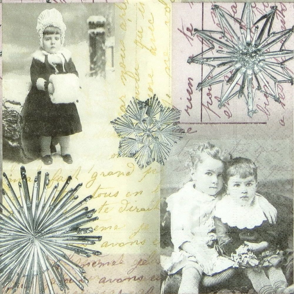4 xSingle Luxury Paper Napkins for Decoupage and Craft Vintage Old Memories