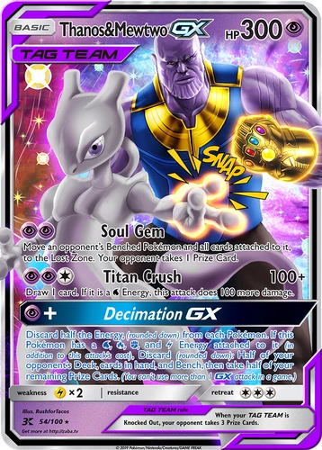 Thanos Mewtwo Gx Custom Pokemon Card Pokemon Cards Legendary Pokemon Card Memes Cool Pokemon Cards