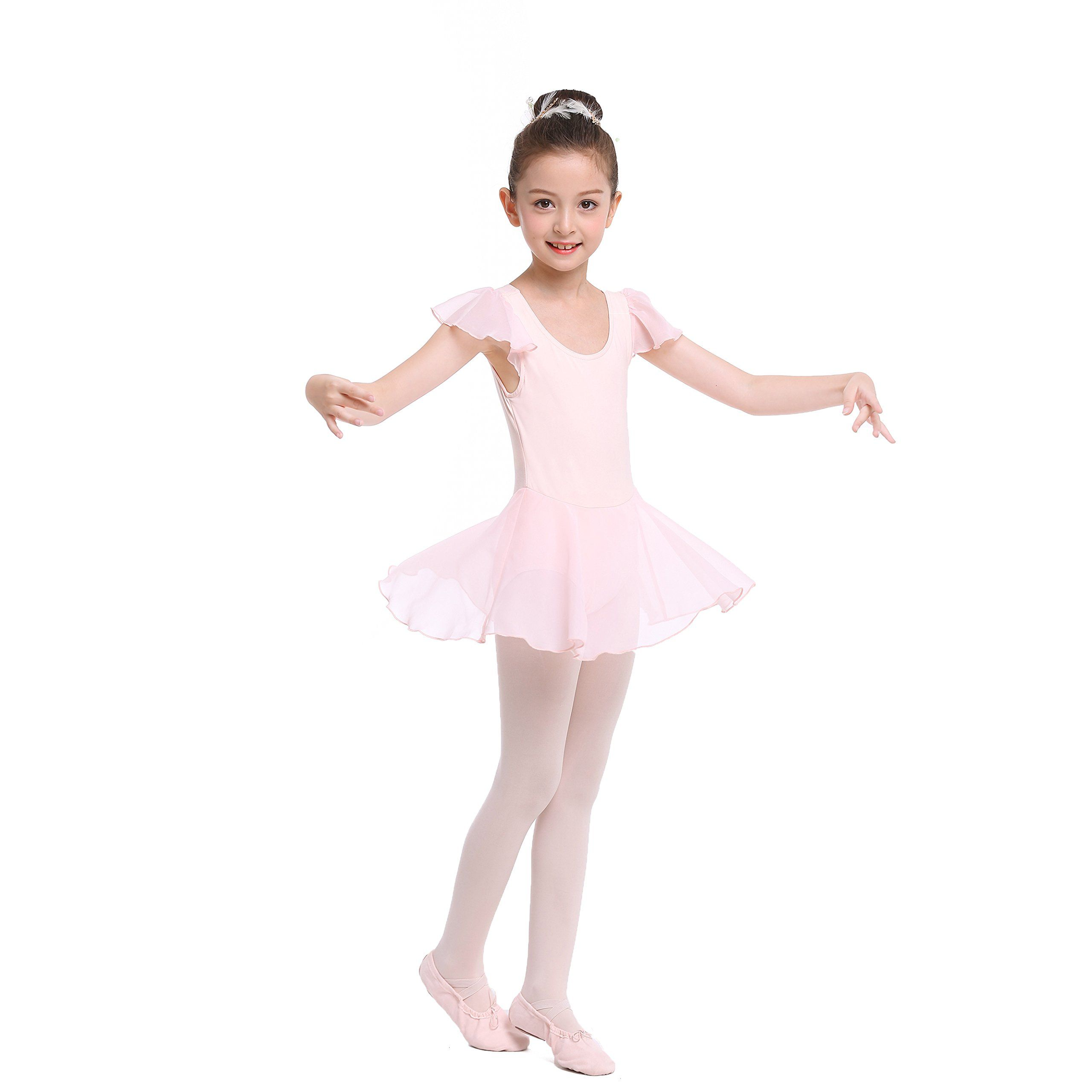 STELLE Girls Ruffle Sleeve Ballet Leotard Dress