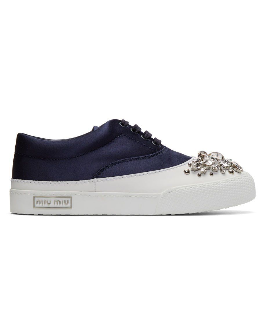 Cheap Sale Fashion Style Cheap Visit New Navy Satin and Crystal Sneakers Miu Miu Outlet Largest Supplier 100% Original Cheap Online Cheap Buy zCeLjK90zU