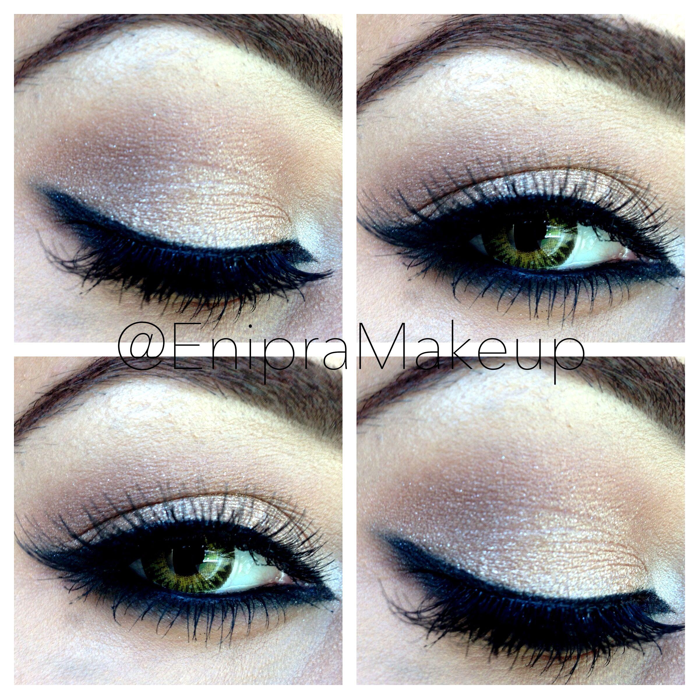 Eye makeup with smokey eyeliner