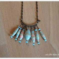 Collier gouttes bronze et grosses perles en papier