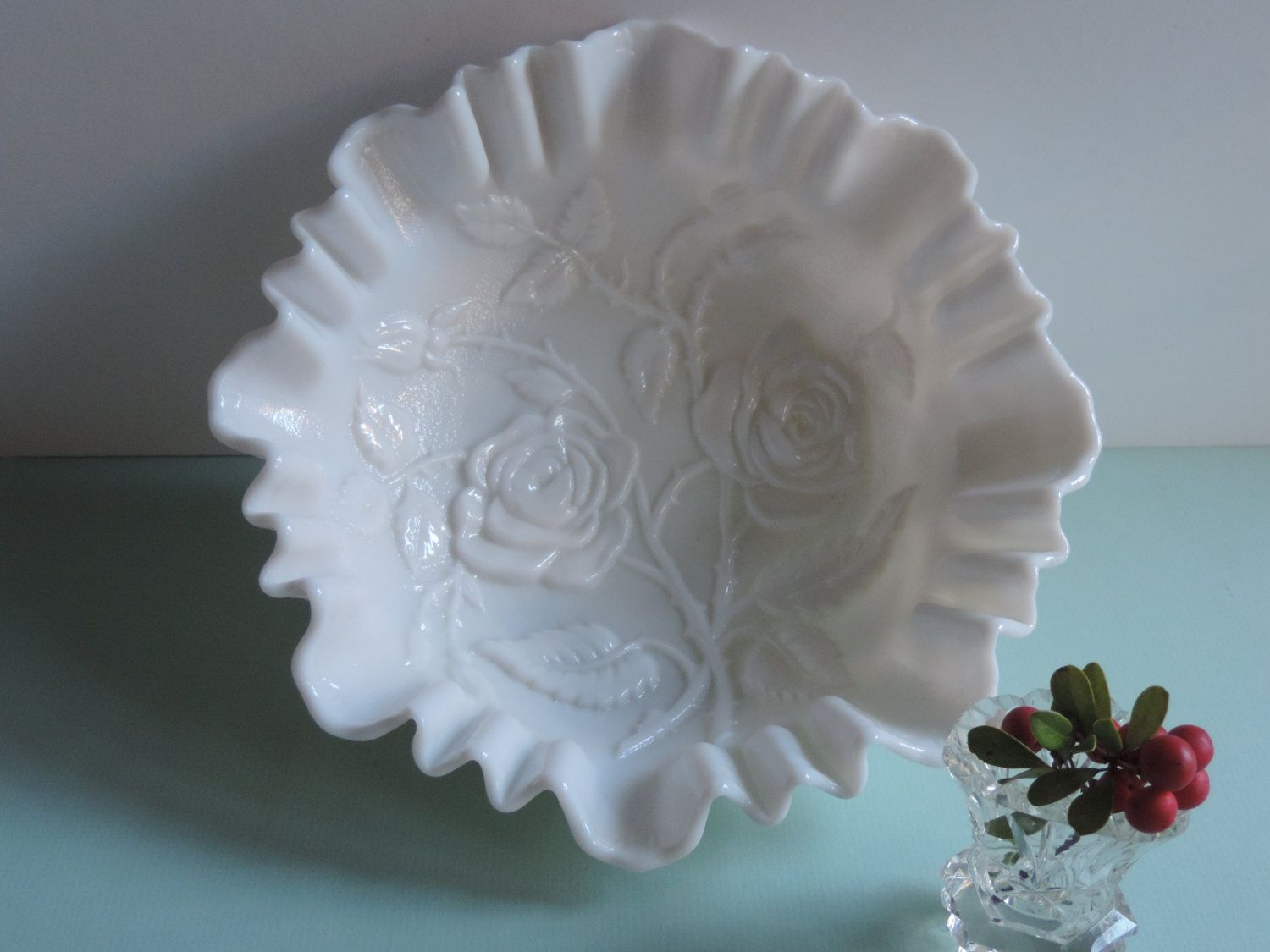 Vintage Milk Glass Bowl Imperial Glass White by used2bnewVintage