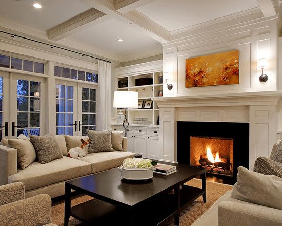 Traditional Family Room Fireplace With Side Shelves Design
