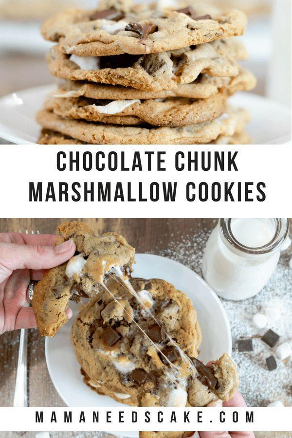 Chocolate Chunk Marshmallow Cookies (Chocolate Chip) - Mama Needs Cake #chocolatemarshmallowcookies
